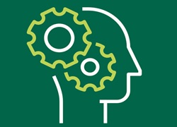 Intelligence icon - gears turning inside outline of head